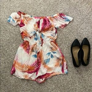 Cute Tropical Floral Off The Shoulder Romper